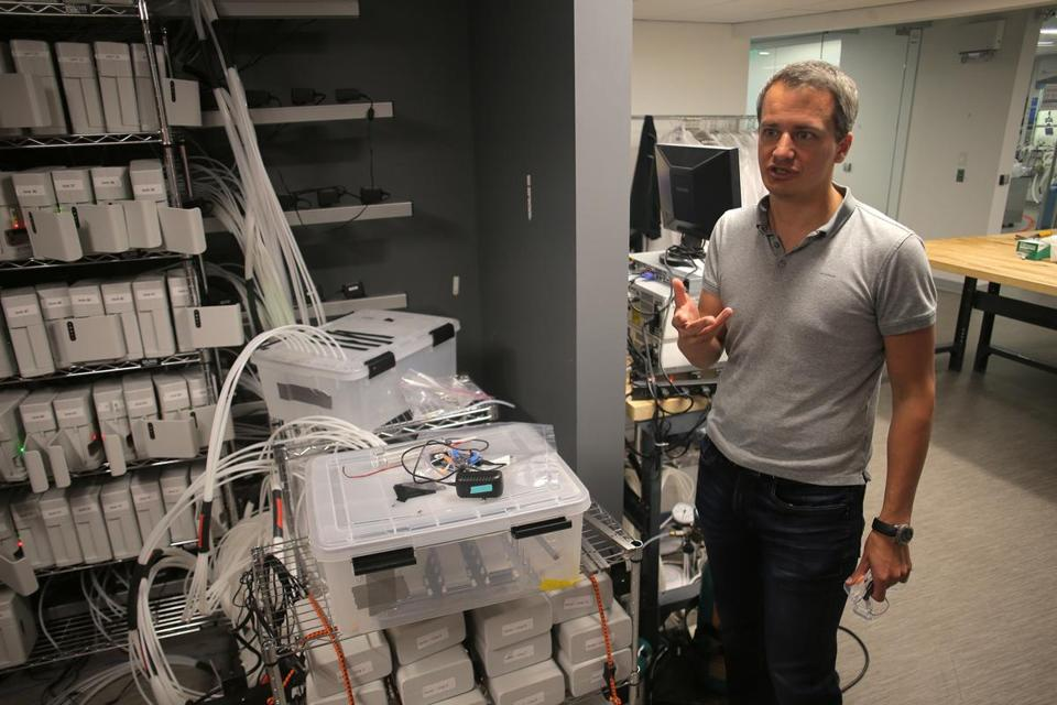 "Cambridge , MA - 07/17/18 - CEO Jan Schnorr (cq) discusses his company's technology near a bank of sensing ""nodes"" in the lab. Cambridge startup C2Sense has a promising technology that can detect the smell of industrial hazards like chicken poop or rotting fruit. Though this seems basic, the idea of getting a machine to ""smell"" anything has been elusive for decades, despite a decade of science fiction imagining what it would be like to replicate the sense. (Lane Turner/Globe Staff) Reporter: (Andy Rosen) Topic: (18smell)"